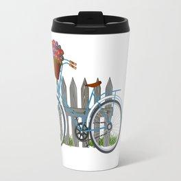 Vintage bicycle with basket full of violets flowers Travel Mug