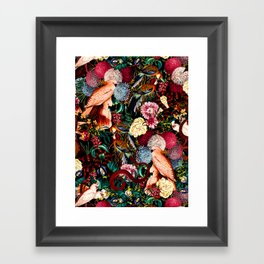 Floral and Animals pattern II Framed Art Print