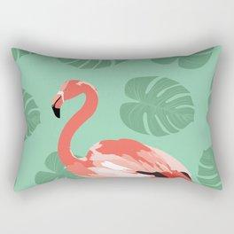 Flamingo on teal Rectangular Pillow