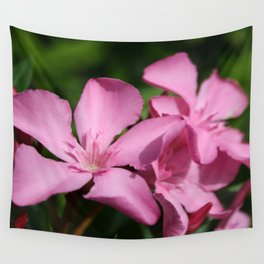 Pink Oleander Blossom Wall Tapestry