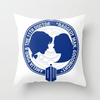 amy pond Throw Pillows featuring Doctor Who pals: Matt Smith & Amy Pond by logoloco