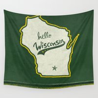 wisconsin Wall Tapestries featuring Hello Wisconsin by Yellow 13
