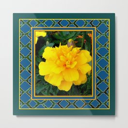 DECORATIVE TEAL & YELLOW  MARIGOLD FLORAL  PATTERN Metal Print