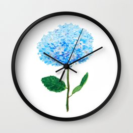 abstract blue hydrangea watercolor Wall Clock