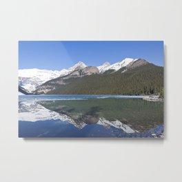 Snowy mountain reflection on lake Louise Metal Print