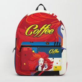 """Beautiful Fashion Woman and Coffee Cup"" POP-ART poster, Retro, Design Backpack"