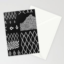 Moroccan Patchwork in Black and White Stationery Cards