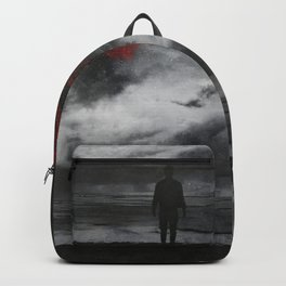 retreat - surreal and dark seascape with red moon Backpack