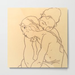 "Egon Schiele ""Woman and Girl Embracing"" Metal Print"