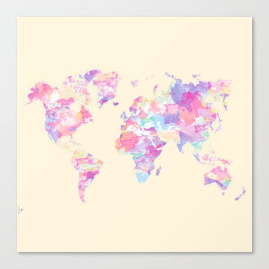 Watercolor Earth on Yellow Pastel (World Travel Wanderlust) Canvas Print