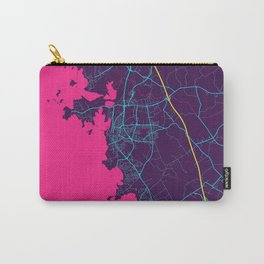 Varberg Neon City Map, Varberg Minimalist City Map Art Print Carry-All Pouch