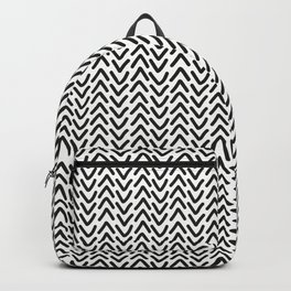 chevron black on white Backpack