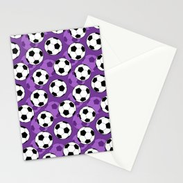 Football Pattern on Purple Background Stationery Cards