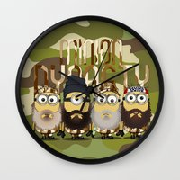 minions Wall Clocks featuring Minions Mashup Duck Dinasty by Akyanyme