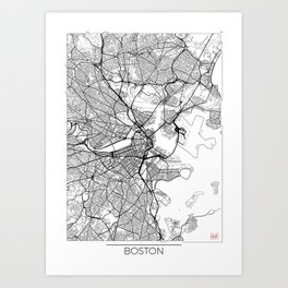 Boston Map White Art Print