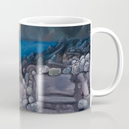 Sunset at Elgol Beach, Fantastic Modern Oil Painting on Canvas, Landscape by Luna Smith Coffee Mug