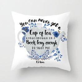 Tea & Books (CS Lewis Quote) Throw Pillow