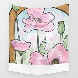 Art Deco Poppies in Pink Wall Tapestry