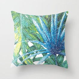 Philodendron & Flora Throw Pillow