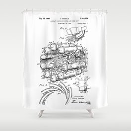 Jet Engine: Frank Whittle Turbojet Engine Patent Shower Curtain