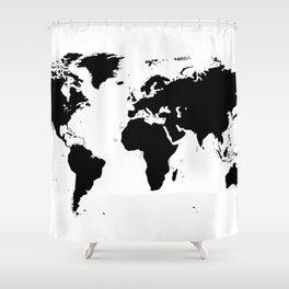 Black Ink World Map Shower Curtain