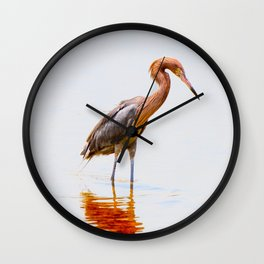 Reddish Egret 4 Wall Clock