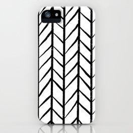 black and white modern hand drawn herringbone chevron pattern iPhone Case