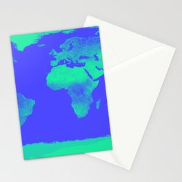 World Map Periwinkle Blue Mint Stationery Cards