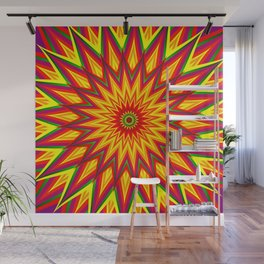 Fractal Sunflower Colorful Abstract Floral Art II Wall Mural