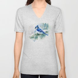 Watercolor Blue Jay Unisex V-Neck