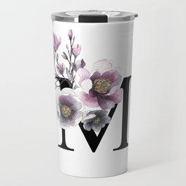 Letter 'M' Magnolia Flower Typography Travel Mug