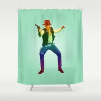 indiana jones Shower Curtains featuring Indiana Solo Variant R by Parissis