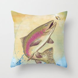 End Of The Line // Rainbow Trout Jumping Out Of Splashing Water // With Lure at Sunset // Fish On! Throw Pillow