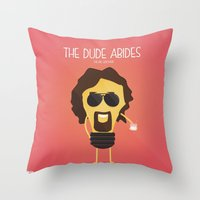 the big lebowski Throw Pillows featuring  The Big Lebowski by BajuKhaju