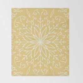Single Snowflake - Yellow Throw Blanket
