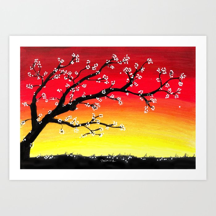 Drawing Sunset and a Blossom Tree Kunstdrucke