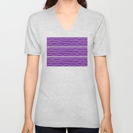 Purple with White Squiggly Lines Unisex V-Neck