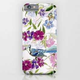 Vintage & Shabby Chic - Blue Jay and Flowers Garden iPhone Case