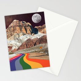 Trippy 1960s Stars and Moon Retro Red Rock Canyon Collage Milky Way Galaxy Colors Stationery Cards