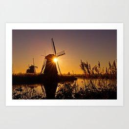 Dutch Windmills of Kinderdijk at sunrise Art Print