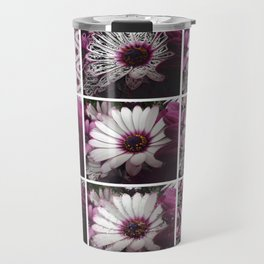 White and Magenta African Daisies Graphic Collage Travel Mug