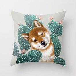 Shiba Inu and Cactus Throw Pillow