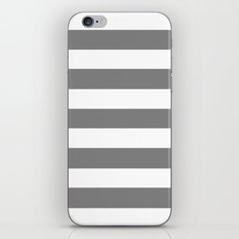 Gray (HTML/CSS gray) -  solid color - white stripes pattern iPhone Skin