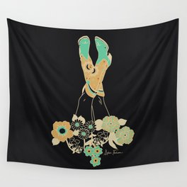 Love Stoned Cowboy Boots - Emerald, Cream, Black Wall Tapestry