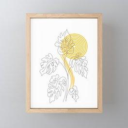 Monstera line Art Framed Mini Art Print