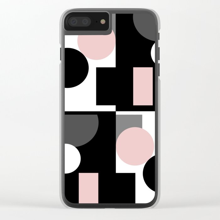 An abstract geometric pattern . Geometric shapes . Black pink white pattern . Clear iPhone Case