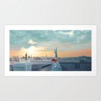 daredevil Art Prints featuring Daredevil  by Lesley Vamos