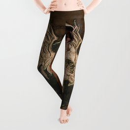 Awesome creepy skull with rat Leggings