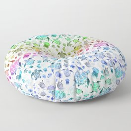 Ocean Life - Rainbow Colors Floor Pillow
