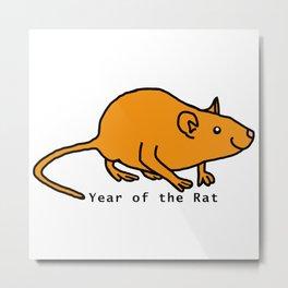 Gold Year of the Rat Metal Print